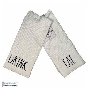 Rae Dunn EAT DRINK Kitchen Towel Set of 2